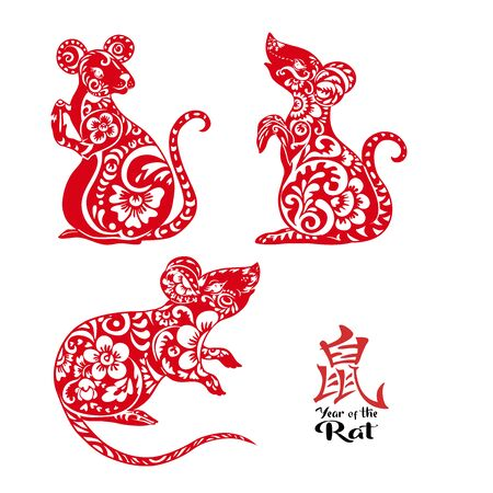 Set of three mouse, rat. Element for design. illustration in decorative style. Chinese hieroglyph means year of the rat.