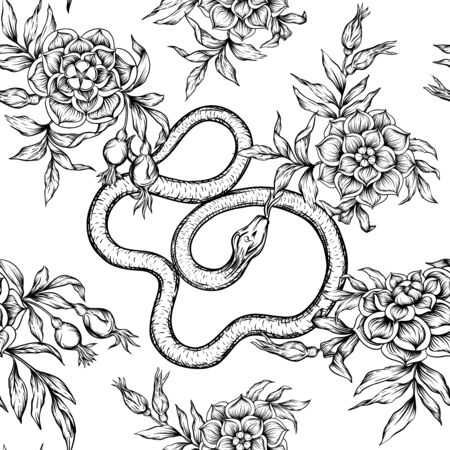 Roses and snake. Seamless pattern, background. Graphic drawing, engraving style.