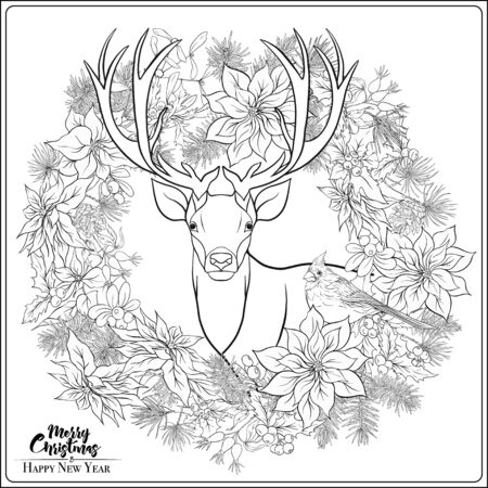 Christmas wreath of spruce, pine, poinsettia, dog rose, cow berry, cranberry, mistletoe, winter birds and deer. Coloring page for the adult coloring book. Ilustracja