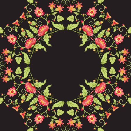Tradition mughal motif, fantasy flowers in retro, vintage style. Seamless pattern, background.