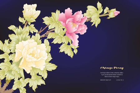 Peony tree branch with flowers in the style of Chinese painting on silk Template for wedding invitation, greeting card, banner, gift voucher, label.