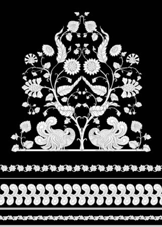 Indian ethnic pattern with stylized florwers with bird..Vector illustration in black and white graphic. . 矢量图像