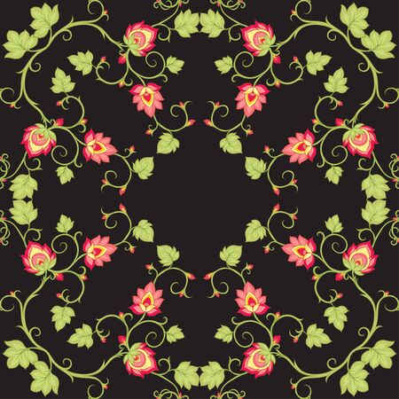 Tradition mughal motif, fantasy flowers in retro, vintage style. Seamless pattern, background. Vector illustration. Isolated on black background..