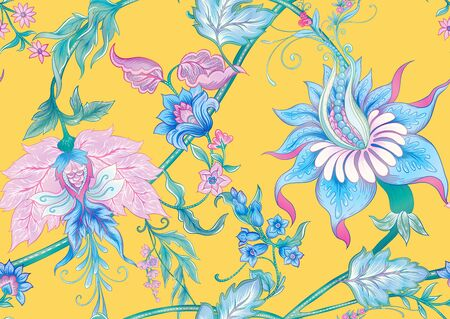 Fantasy flowers in retro, vintage, jacobean embroidery style. Seamless pattern, background. Colored vector illustration. On aspen gold yellow background..  イラスト・ベクター素材