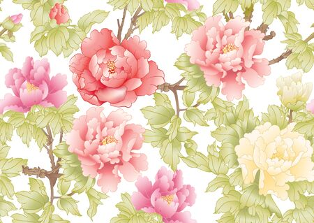 Peony tree branch with flowers in the style of Chinese painting on silk Seamless pattern, background. Colored vector illustration.