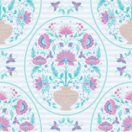 Tradition mughal motif, fantasy flowers in retro, vintage style. Seamless pattern, background. Vector illustration. On blue stripes background..