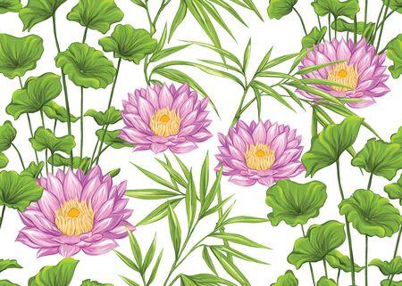 Modello senza cuciture, sfondo con piante tropicali, fiori. Illustrazione vettoriale colorata. Isolato su sfondo bianco. Vettoriali