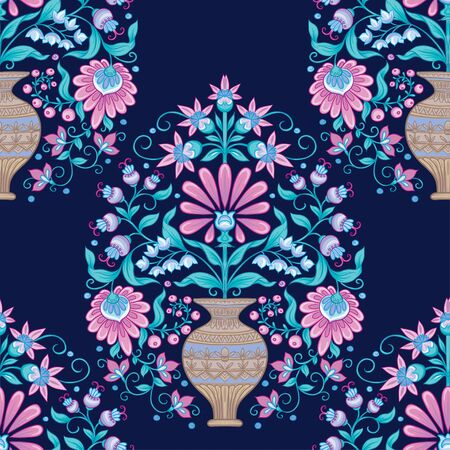 Tradition mughal motif, fantasy flowers in retro, vintage style. Seamless pattern, background. Vector illustration. On blue background Vector Illustration