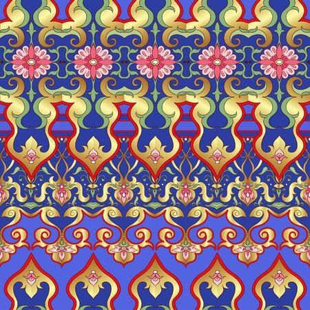 Eastern ethnic motif, traditional muslim ornament. Seamless pattern, background. Vector illustration  イラスト・ベクター素材