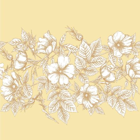 Seamless pattern, background with dog-rose, briar, brier, eglantine, canker-rose Template for wedding invitation, greeting card, gift voucher. Graphic drawing Vector illustration