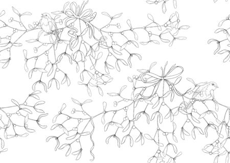 Seamless pattern, background. Mistletoe, Robin bird and ribbon. Outline hand drawing vector illustration
