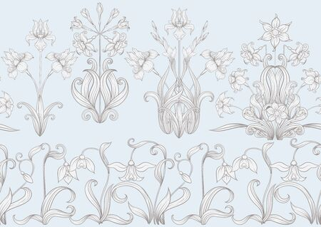 Frühlingsblumen. Narzisse, Irisblume, Maiglöckchen, Maililie, nahtloses Muster, Hintergrund. In Vintage-Beige-Farben.. Vektor-Illustration. Im Jugendstil, Vintage, Alt, Retro-Stil Vektorgrafik