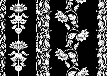 Sunflower. Seamless pattern, background. Black and white graphics Vector illustration. In art nouveau style, vintage, old retro style