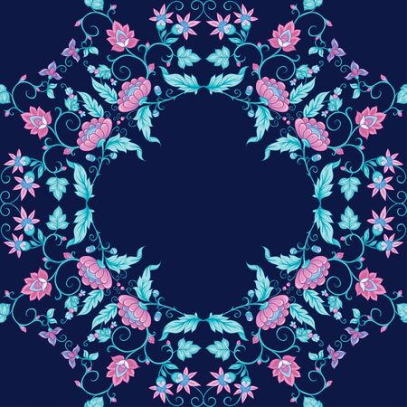 Tradition mughal motif, fantasy flowers in retro, vintage style. Seamless pattern, background. Vector illustration. On blue background