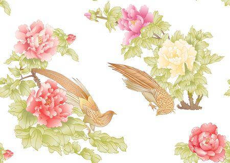 Rama de un árbol de peonía con flores con faisanes al estilo de la pintura china sobre seda Patrón transparente, fondo. Ilustración de vector de color. Aislado sobre fondo blanco.