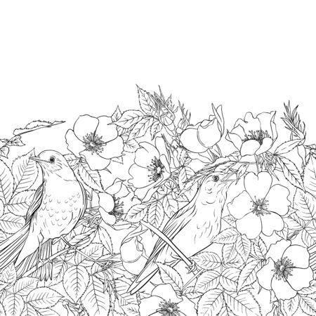 Naadloze patroon, achtergrond met hondsroos, briar, brier, egel, kanker-roos. Sjabloon voor huwelijksuitnodiging, wenskaart, cadeaubon. Grafische omtrek tekenen, vectorillustratie.