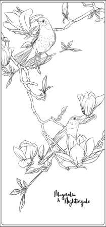 Rama de árbol de magnolia con flores y ruiseñor Página para colorear para el libro de colorear para adultos. Ilustración de vector de dibujo a mano de contorno.