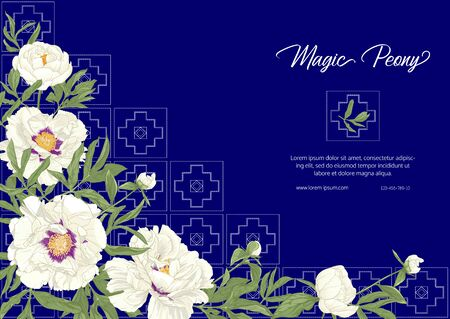 White Peony with imitation of traditional Japanese embroidery Sashiko. Template for wedding invitation, greeting card, banner, gift voucher, label. Colored vector illustration on blue background..  イラスト・ベクター素材