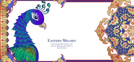 Peacock and eastern ethnic motif, traditional muslim ornament. Template for wedding invitation, greeting card, banner, gift voucher, label. Colored vector illustration in gold and blue.