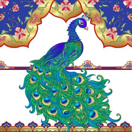 Paon et motif ethnique oriental, ornement musulman traditionnel. Modèle d'invitation de mariage, carte de voeux, bannière, bon cadeau, étiquette. Illustration vectorielle colorée en or et bleu. Vecteurs