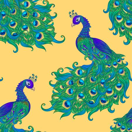 Peacock bird seamless pattern, background. On aspen yellow background
