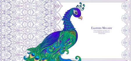 Peacock and eastern ethnic motif, traditional muslim ornament. Template for wedding invitation, greeting card, banner, gift voucher, label. Colored and outline design. Vector illustration..