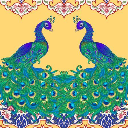 Peacock bird seamless pattern, background. On aspen yellow background