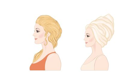 Set of two portraits of beautiful woman 30-39 or 40-49 with a towel on her head with hairstyle and makeup. Before and after. Hand drawn vector line art illustration. Illustration