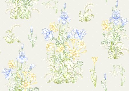 Spring flowers. Narcissus, Iris, lily of the valley, may-lily, Seamless pattern, background. Vector illustration. In art nouveau style, vintage, old, retro style. On soft grey background