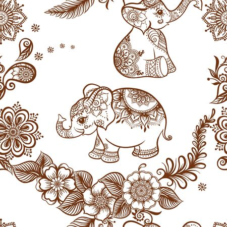 Elephant in eastern ethnic style, traditional indian henna ornament. Seamless pattern, background. Vector illustration.