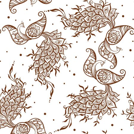 Eastern ethnic style compositions, mehendi, traditional indian henna floral ornament with peacock. Seamless pattern, background. Vector illustration.