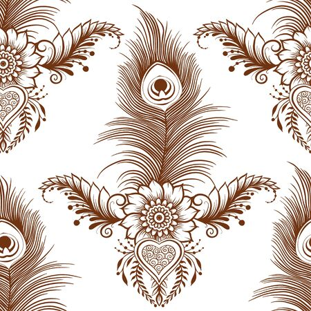Peacock feathers in eastern ethnic style, mehendi, traditional indian henna floral ornament. Seamless pattern, background. Vector illustration.
