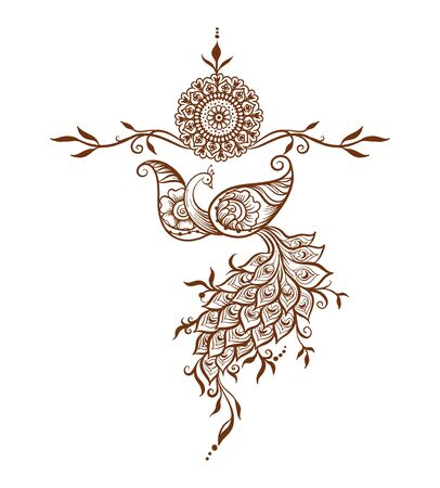 Eastern ethnic style compositions, mehendi, traditional indian henna floral ornament with peacock. Element for design. Vector illustration.
