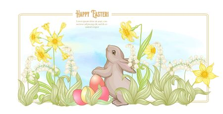 Happy easter. Template postcard, poster with a hare, colored eggs and spring flowers. Good for product label, stiker with place for text. Colored vector illustration. In art nouveau style,