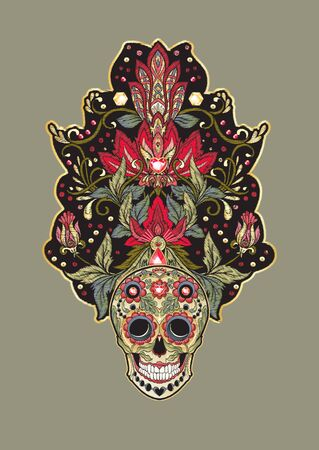 Patch, embroidery imitation. Decorative floral motif with human skull in retro, vintage, jacobean embroidery style. Vector illustration.