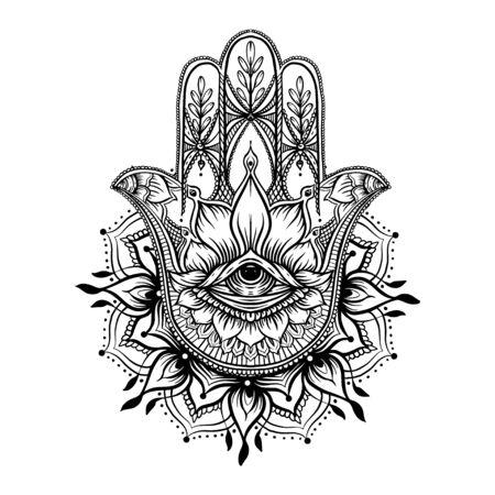 Ornate hand drawn hamsa. Popular Arabic and Jewish amulet. Vector illustration. Outline vector illustration, isolated on white background. Vector Illustratie