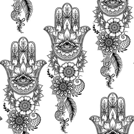 Seamless pattern with ornate hand drawn hamsa. Popular Arabic and Jewish amulet. Vector illustration. Outline vector illustration, isolated on white background.