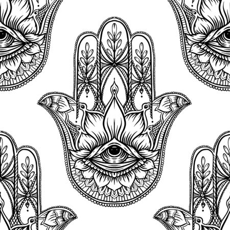 Seamless pattern with ornate hand drawn hamsa. Popular Arabic and Jewish amulet. Vector illustration. Outline vector illustration, isolated on white background. Vettoriali