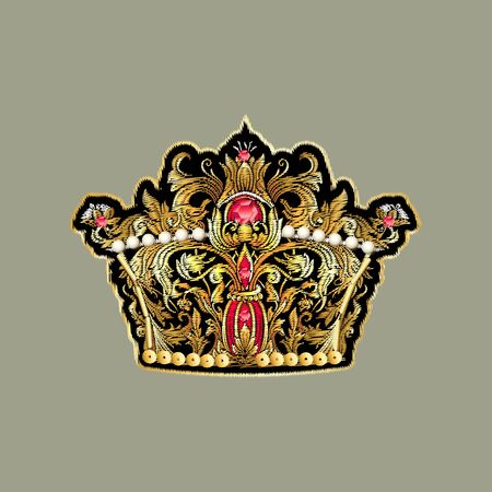 Beautiful gold king crown patch. Vector illustration. Banque d'images - 140027329
