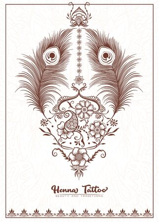 Template design with traditional indian henna tattoo with peacock feather. Template for wedding invitation, greeting card, banner, gift voucher, label. Vector illustration.. Vetores
