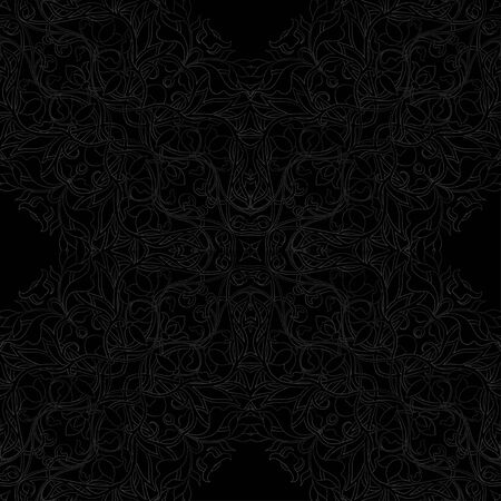 Arabic floral seamless pattern. Traditional arabic islamic background. Mosque decoration element. Vector illustration in black colors.