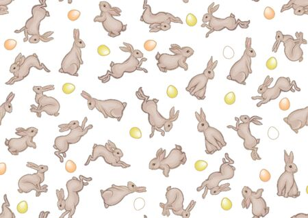 Seamless pattern with a hares, colored eggs for easter. Colored vector illustration. In art nouveau style, vintage, old, retro style. Isolated on white background.