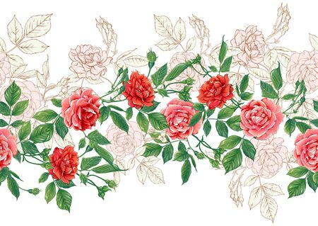 Seamless pattern with red roses flowers. Colored vector illustration. Isolated on white background.