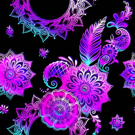 Eastern ethnic style compositions, mehendi, traditional indian henna floral ornament. Seamless pattern, background. Vector illustration in neon, fluorescent colors.