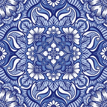 Eastern ethnic motif, traditional indian henna ornament. Seamless pattern, background. Vector illustration.