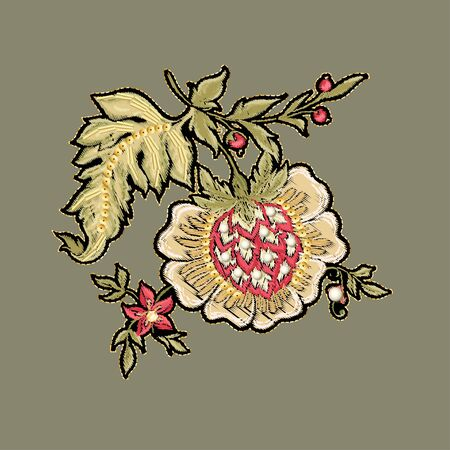 Fantasy flowers in retro, vintage, jacobean embroidery style. Embroidery imitation with beads and sequins. Vector illustration.