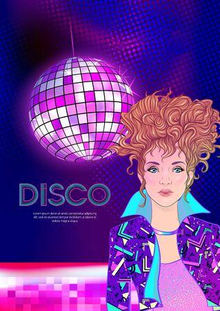 Modèle de conception de soirée disco avec fashion girl, boule disco, lumière et place pour le texte. Conception de modèle d'invitation pour événement glamour, mariage thématique, flyer de fête. Illustration vectorielle.