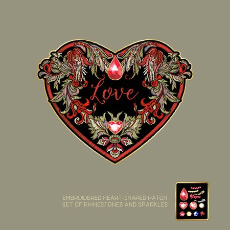 Embroidered love heart-shaped patch with a floral pattern and a set of rhinestones and sparkles. Vector illustration. Illustration