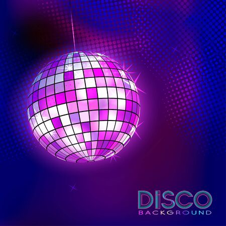 Disco ball. Disco background. Night Club party light element. Bright mirror ball design for disco dance club. Vector. Ilustracja