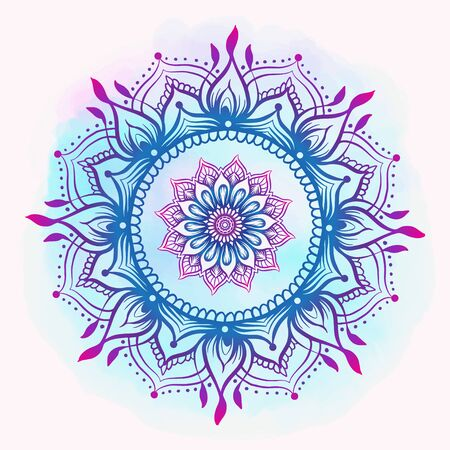 Mandala. Vintage round pattern. Hand drawn abstract background. Traditional Indian henna mehendi tattoo element. Vector illustration.  イラスト・ベクター素材
